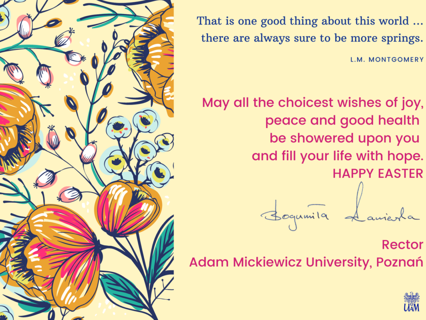 Easter Holiday Wishes from AMU Rector